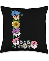 Initial Monogram Floral Alphabet Tees by Alice Ron L Shirt Cute Initial Monogram Floral Alphabet Letters Throw Pillow, 16x16, Multicolor