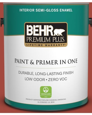 BEHR Premium Plus 1 gal. #170D-7 Farmhouse Red Semi-Gloss Enamel Low Odor Interior Paint and Primer in One