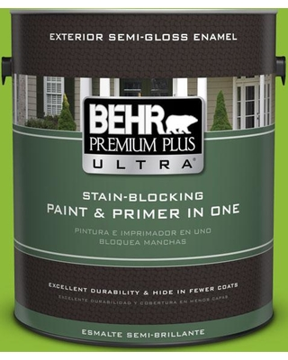 BEHR Premium Plus Ultra 1 gal. #S-G-420 Limeade Semi-Gloss Enamel Exterior Paint and Primer in One