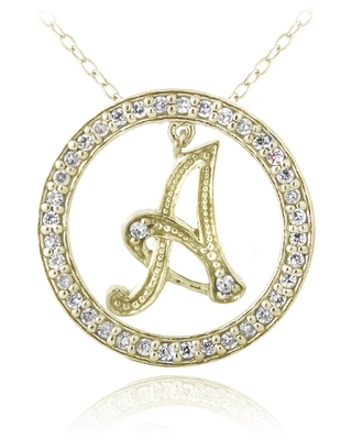 ICZ Stonez Gold Over Silver Cubic Zirconia Initial Necklace (Gold/F)