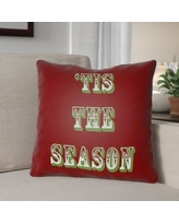 """The Holiday Aisle Tis the Season Indoor/Outdoor Throw Pillow HLDY1187 Size: 18"""" H x 18"""" W x 4"""" D, Color: Maroon / Green"""