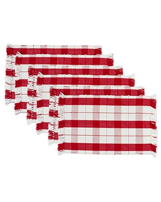 """DII, Ribbed Cotton Placemat, Fringed, Washable, Set of 6, 13x19"""", Red Tinsel"""