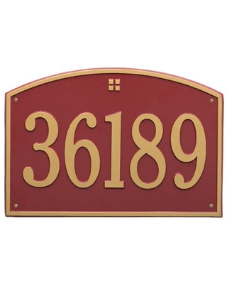 Whitehall Products 1-Line Personalized Address Wall Plaque in Red/Gold