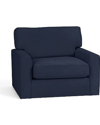 Turner Square Arm Upholstered Swivel Armchair without Nailheads, Down Blend Wrapped Cushions, Twill Cadet Navy
