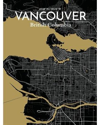 "OurPoster.com 'Vancouver City Map' Graphic Art Print Poster in Luxe OP-YVR Size: 20"" H x 16"" W"