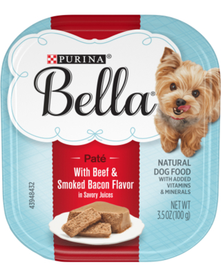 (12 Pack) Purina Bella Natural Small Breed Pate Wet Dog Food, with Beef & Smoked Bacon in Savory Juices, 3.5 Oz. Trays