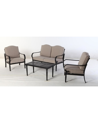 Hampton Bay Laurel Oaks 4 Piece Steel Patio Conversation Set With Putty  Cushions