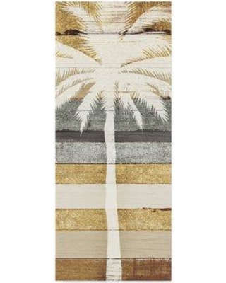 "Bay Isle Home 'Beachscape Palms IV Gold Neutral' Graphic Art Print on Wrapped Canvas BYIL5869 Size: 47"" H x 20"" W x 2"" D"