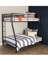 Walker Edison Premium Twin Over Full Metal Bunk Bed, Black (Multiple Colors Available)