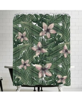 East Urban Home Jetty Printables Tropical Botanical Leaves Shower Curtain URBR5397