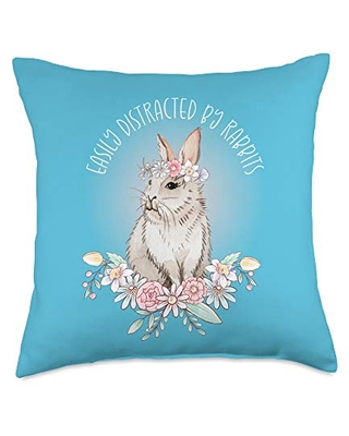 Amazing Deal On I Love Bunnies Shirts Gifts By Dsr Cute Bunny Floral Easter Easily Distracted By Rabbits Throw Pillow 18x18 Multicolor