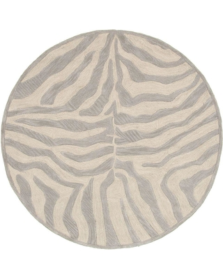 LR Resources Fashion Taupe/Silver (Brown/Silver) Zebra 3 ft. x 3 ft. Plush Round Indoor Area Rug