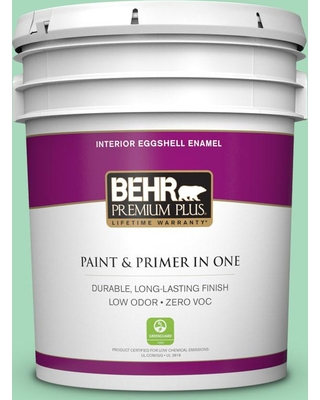 BEHR Premium Plus 5 gal. #P410-3 Shanghai Jade Eggshell Enamel Low Odor Interior Paint and Primer in One