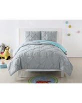 Laura Hart Kids Pleated Silver Grey and Turquoise Twin XL Duvet Set, Silver Grey And Turquoise Duvet