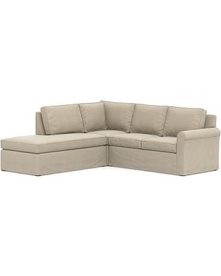 Cameron Roll Arm Slipcovered Right 3-Piece Bumper Corner Sectional, Polyester Wrapped Cushions, Sunbrella(R) Performance Chenille Cloud