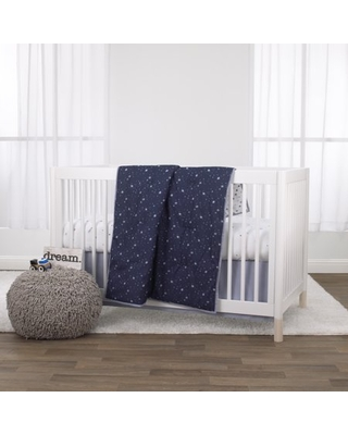 Little Love by NoJo Celestial 3 Piece Crib Bedding Set - Navy, Grey and White - Comforter, Fitted Crib Sheet and Dust Ruffle