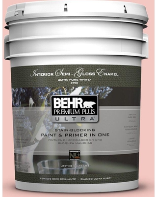 BEHR ULTRA 5 gal. #M170-2 Prairie Rose Semi-Gloss Enamel Interior Paint and Primer in One