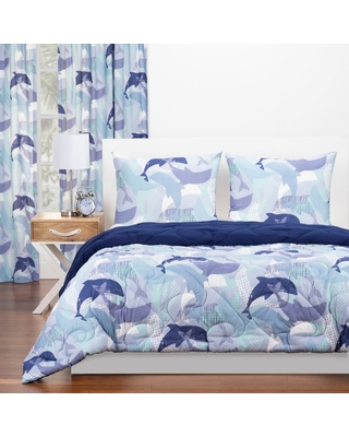 Full/Queen Life's Porpoise Reversible Comforter Set With Sham Blue - Crayola