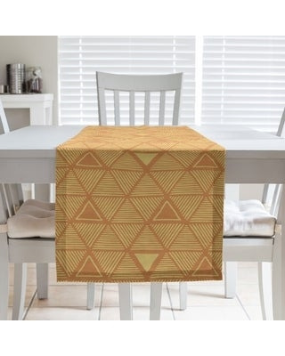 Full Color Hand Drawn Triangles Table Runner (16 x 90 - Cotton Blend - Orange & Yellow)