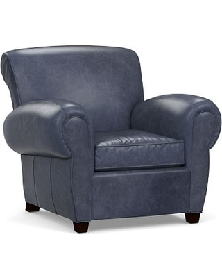 Beau Manhattan Leather Armchair, Polyester Wrapped Cushions, Statesville Indigo  Blue