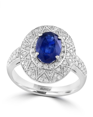 Effy Jewelry Blue Sapphire Cocktail Ring with Diamonds in 14K White Gold, 1.89 TWC Size- 7 (Sapphire - Blue - White - 7 - Blue)