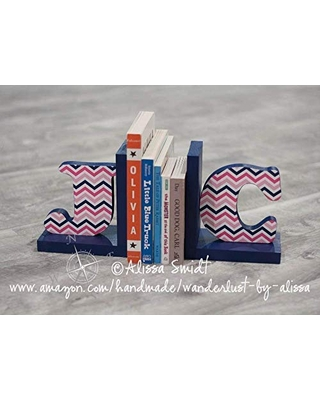 Letter Bookends, Initial Bookends, Navy and Pink Wooden Custom Bookends - Custom Created to Coordinate with Your Decor (alphabet bookends, name bookends, stripe, chevron, geometric)