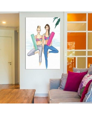 "East Urban Home Yogi Besties Painting Print on Wrapped Canvas ESHM7531 Size: 18"" H x 12"" W x 1.5"" D"
