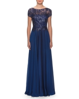 La Femme Floral Lace & Satin Gown, Size 2 in Navy at Nordstrom