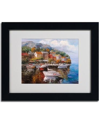 """Trademark Art """"At Sea"""" by Michelle Moate Matted Framed Painting Print 75-P15- Size: 11"""" H x 14"""" W x 0.5"""" D Frame: Black"""