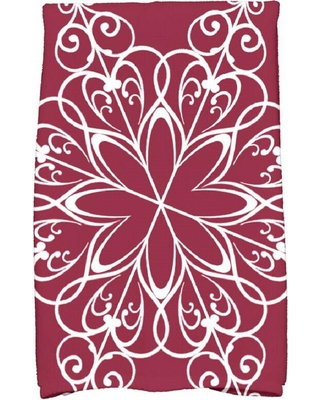 E by Design 16 in. x 25 in. Cranberry Snowflake Holiday Geometric Print Kitchen Towel, Dark Red