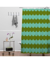 Ebern Designs Brunner Waves of Color Floral Single Shower Curtain Polyester in Green, Size 72.0 H x 69.0 W in | Wayfair BRSD9498 29857196