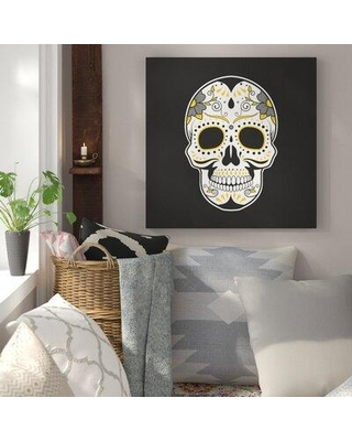 Sales On Bungalow Rose Mexican Sugar Skull Art Oil Painting Print On Wrapped Canvas Canvas Fabric In Black Size 24 H X 24 W X 1 5 D Wayfair