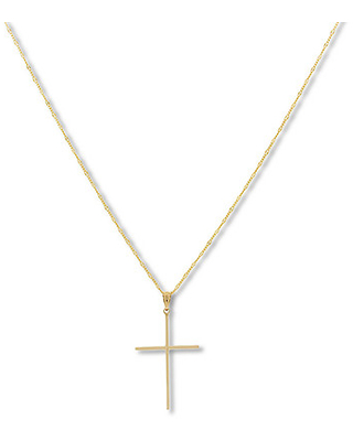 """Cross Necklace 14K Yellow Gold 18"""""""