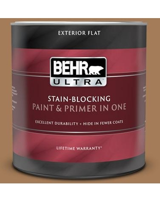 BEHR ULTRA 1 qt. #270F-6 Fudge Truffle Flat Exterior Paint and Primer in One