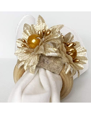 Gold flower napkin ring. set of 4. This rustic napkin ring set is great to decor your elegant table. Handmade rustic napkin rings come in a set of 4