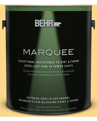 BEHR MARQUEE 1 gal. #P280-4 Surfboard Yellow Semi-Gloss Enamel Exterior Paint and Primer in One