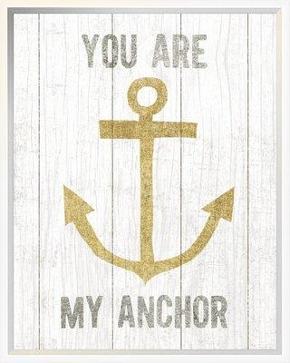 """East Urban Home 'Beachscape III Anchor Quote Gold Neutral' Graphic Art Print EUHG5649 Format: Wrapped Canvas Matte Color: No Matte Size: 20"""" H x 16"""" W"""