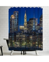 East Urban Home Melanie Viola Boston Evening Skyline of North End and Financial District Shower Curtain ETHH3729