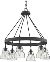 Fifth and Main Lighting Muncie 6-Light Corsican Bronze Pendant with Clear Glass