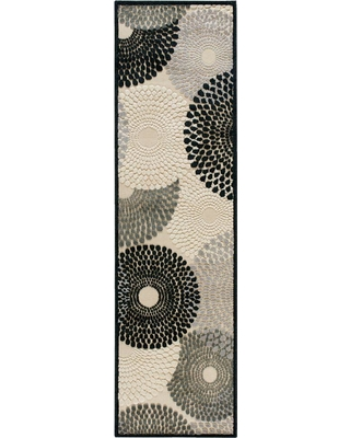 Nourison Graphic Illusions Parchment 2 ft. x 8 ft. Geometric Modern Runner Rug