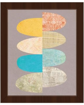 """Click Wall Art Patchwork Eggs Tuesday Framed Graphic Art on Canvas IZON8715 Format: Espresso Framed Size: 22.5"""" H x 18.5"""" W"""