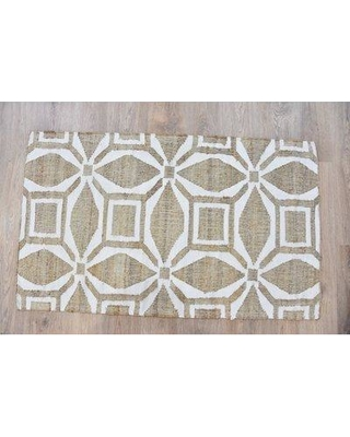 Highland Dunes Moraine Geometric Hand-Knotted White/Beige Area Rug W001269168 Rug Size: Rectangle 3' x 5'