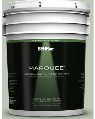 BEHR MARQUEE 5 gal. #440E-3 Topiary Tint Semi-Gloss Enamel Exterior Paint and Primer in One