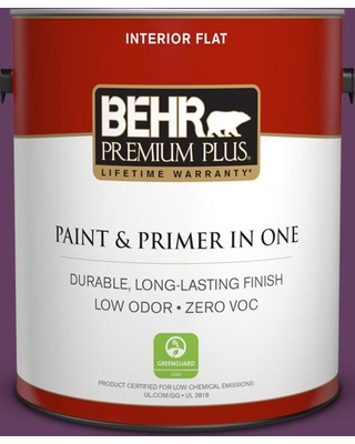 BEHR PREMIUM PLUS 1 gal. #680D-7 Bunchberry Flat Low Odor Interior Paint and Primer in One