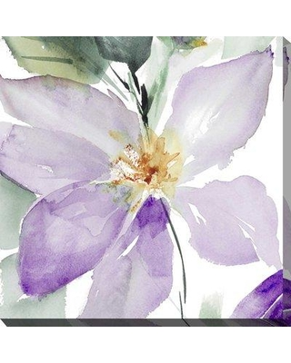 """Ebern Designs 'Clematis in Purple Shades I' Watercolor Painting Print BI163644 Size: 24"""" H x 24"""" W x 1"""" D Format: Wrapped Canvas"""