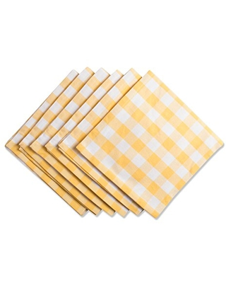 DII Checkered Collection Tabletop, Napkin Set, Yellow 6 Count