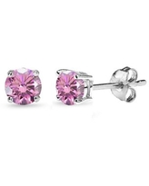 Sterling Silver 4mm Light Rose Stud Earrings Made with Swarovski Crystals