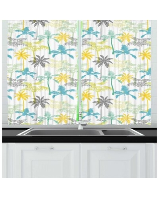 Hawaiian Colorful Island Palm Trees Drawn by Hand Exotic Plantation Tropical Setting Kitchen Curtain East Urban Home
