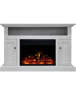 Cambridge Sorrento 47 in. Electric Fireplace Heater TV Stand in White with Enhanced Log Display and Remote Control