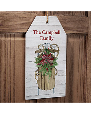 Holiday Sled Personalized Wall Tag Sign